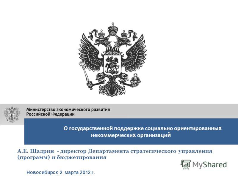 О государственной поддержке социально ориентированны х некоммерчески х организаци й Новосибирск 2 марта 2012 г. А.Е. Шадрин - директор Департамента стратегического управления (программ) и бюджетирования