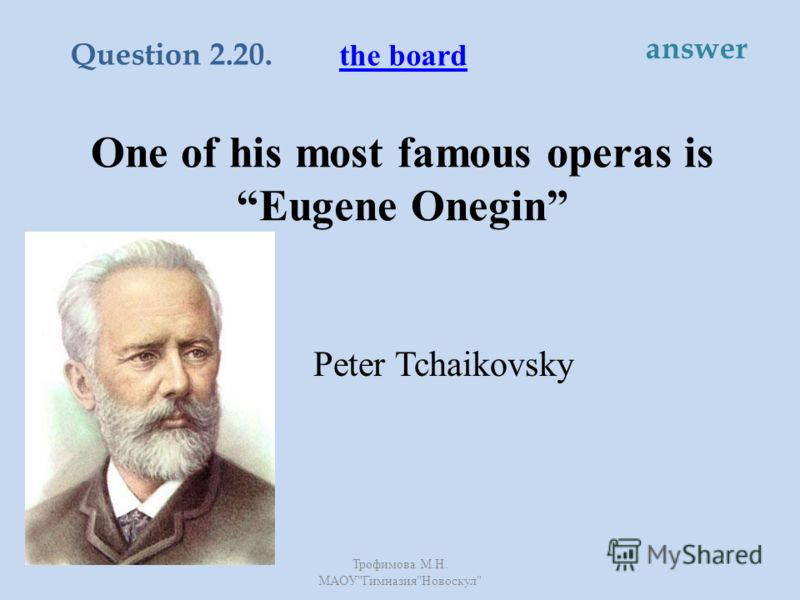 One of his most famous operas is Eugene Onegin Peter Tchaikovsky the board Question 2.20. answer Трофимова М. Н. МАОУ  Гимназия  Новоскул