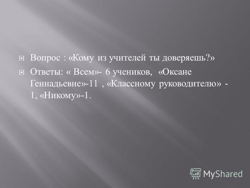 Вопрос : « Кому из учителей ты доверяешь ?» Ответы : « Всем »- 6 учеников, « Оксане Геннадьевне »-11, « Классному руководителю » - 1, « Никому »-1.