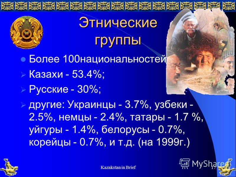 Kazakstan in Brief17 Этнические группы Более 100национальностей: Казахи - 53.4%; Русские - 30%; другие: Украинцы - 3.7%, узбеки - 2.5%, немцы - 2.4%, татары - 1.7 %, уйгуры - 1.4%, белорусы - 0.7%, корейцы - 0.7%, и т.д. (на 1999г.)