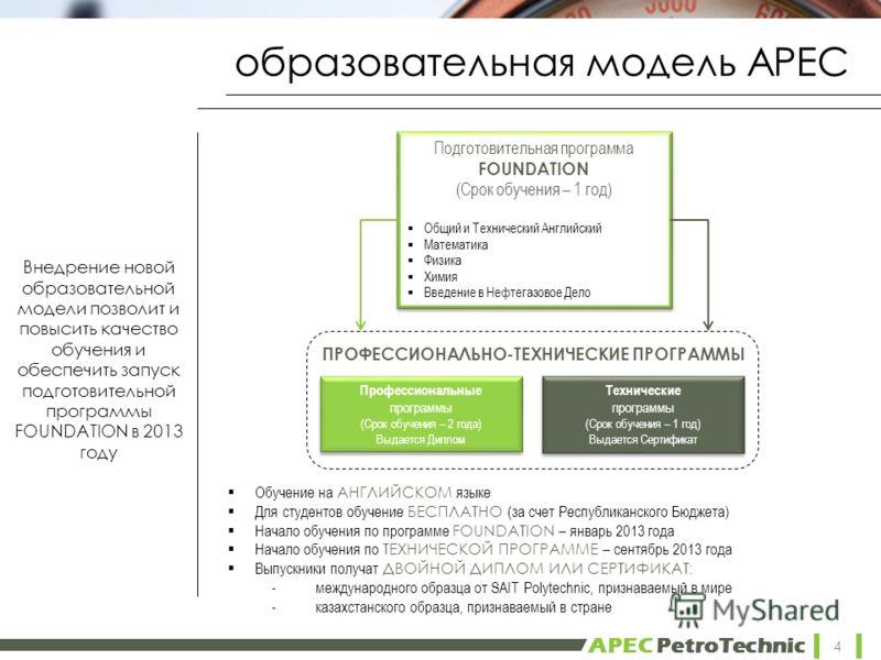 APEC PetroTechnic образовательная модель APEC 4 Подготовительная программа FOUNDATION (Срок обучения – 1 год) Общий и Технический Английский Математика Физика Химия Введение в Нефтегазовое Дело Подготовительная программа FOUNDATION (Срок обучения – 1