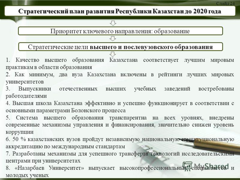 Стратегический план развития Республики Казахстан до 2020 года Приоритет ключевого направления: образование Стратегические цели высшего и послевузовского образования 1. Качество высшего образования Казахстана соответствует лучшим мировым практикам в
