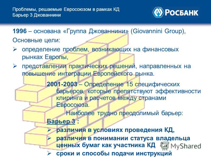 Проблемы, решаемые Евросоюзом в рамках КД Барьер 3 Джованнини 1996 – основана «Группа Джованнини» (Giovannini Group), Основные цели: определение проблем, возникающих на финансовых рынках Европы, представлении практических решений, направленных на пов