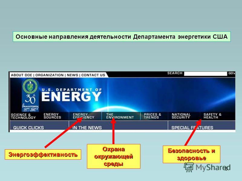 6 Энергоэффективность Охрана окружающей среды Безопасность и здоровье Основные направления деятельности Департамента энергетики США