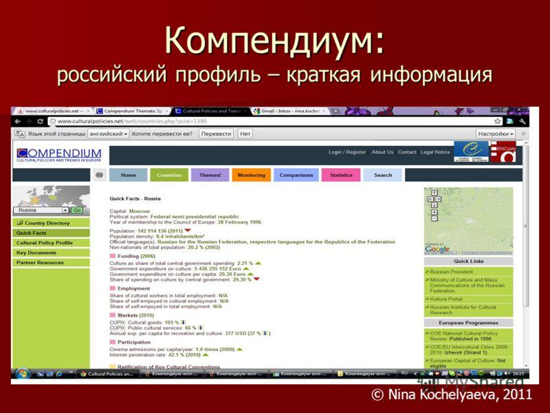 Компендиум: российский профиль – краткая информация © Nina Kochelyaeva, 2011