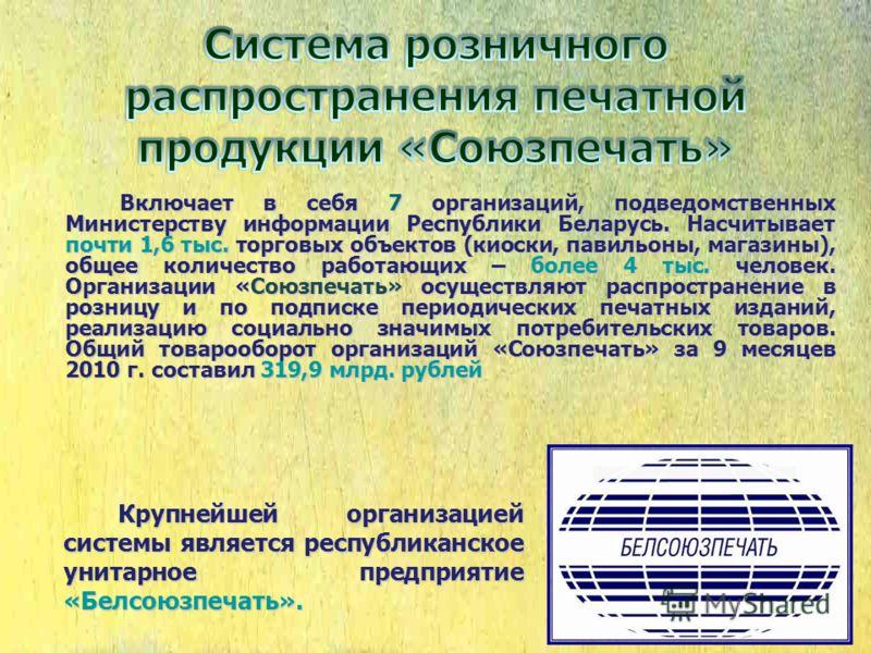 Включает в себя 7 организаций, подведомственных Министерству информации Республики Беларусь. Насчитывает почти 1,6 тыс. торговых объектов (киоски, павильоны, магазины), общее количество работающих – более 4 тыс. человек. Организации «Союзпечать» осущ
