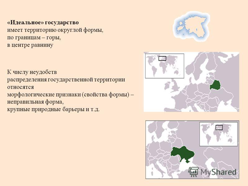 «Идеальное» государство имеет территорию округлой формы, по границам – горы, в центре равнину К числу неудобств распределения государственной территории относятся морфологические признаки (свойства формы) – неправильная форма, крупные природные барье