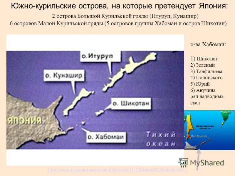 Южно-курильские острова, на которые претендует Япония: 2 острова Большой Курильской гряды (Итуруп, Кунашир) 6 островов Малой Курильской гряды (5 островов группы Хабомаи и остров Шикотан) о-ва Хабомаи: 1) Шикотан 2) Зеленый 3) Танфильева 4) Полонского
