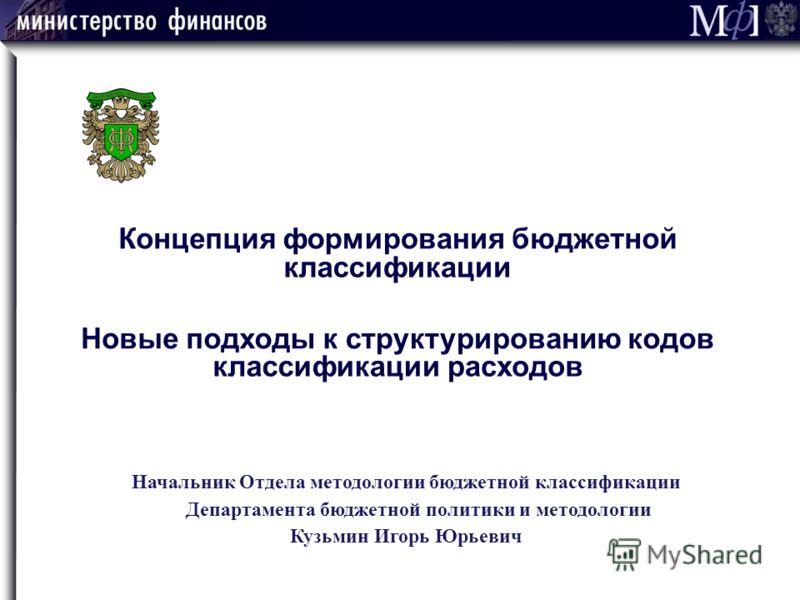 Начальник Отдела методологии бюджетной классификации Департамента бюджетной политики и методологии Кузьмин Игорь Юрьевич