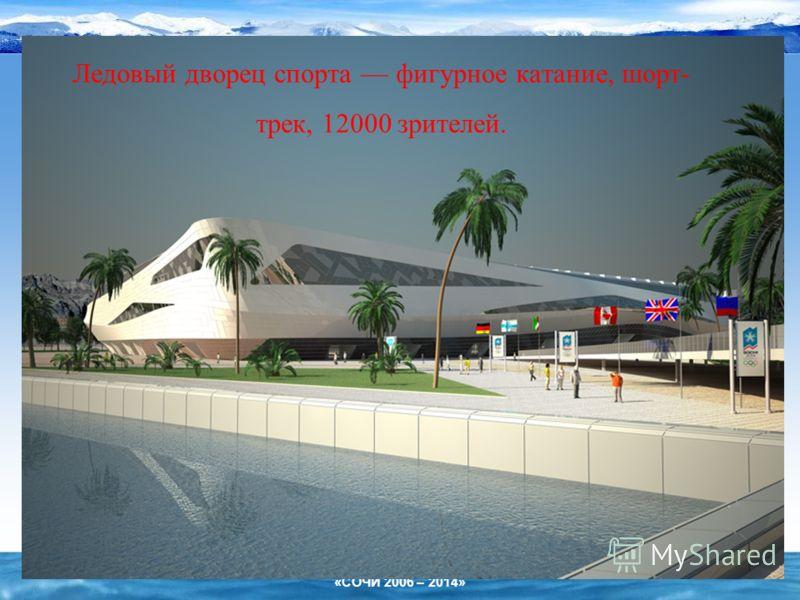 «СОЧИ 2006 – 2014» Ледовый дворец спорта фигурное катание, шорт- трек, 12000 зрителей.
