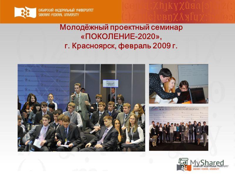 Молодёжный проектный семинар «ПОКОЛЕНИЕ-2020», г. Красноярск, февраль 2009 г.