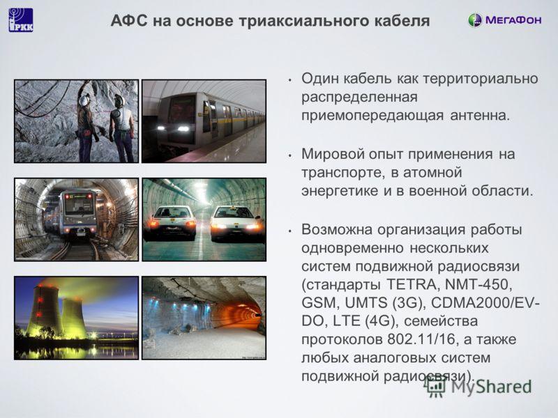 АФС на основе триаксиального кабеля Один кабель как территориально распределенная приемопередающая антенна. Мировой опыт применения на транспорте, в атомной энергетике и в военной области. Возможна организация работы одновременно нескольких систем по
