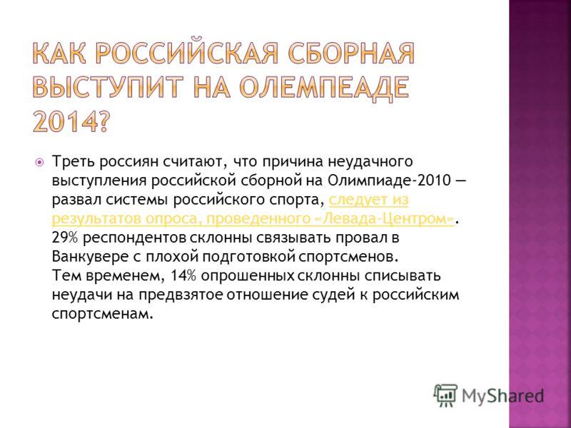 Треть россиян считают, что причина неудачного выступления российской сборной на Олимпиаде-2010 развал системы российского спорта, следует из результатов опроса, проведенного «Левада-Центром». 29% респондентов склонны связывать провал в Ванкувере с пл