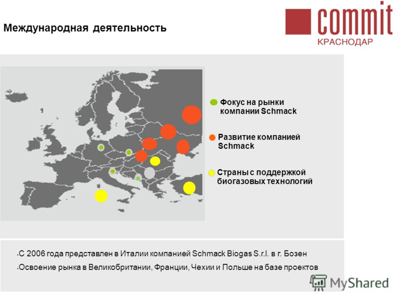 Международная деятельность С 2006 года представлен в Италии компанией Schmack Biogas S.r.l. в г. Бозен Освоение рынка в Великобритании, Франции, Чехии и Польше на базе проектов Страны с поддержкой биогазовых технологий Фокус на рынки компании Schmack