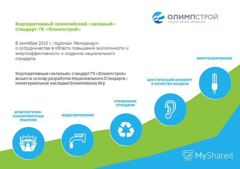 3 В сентябре 2010 г. подписан Меморандум о сотрудничестве в области повышения экологичности и энергоэффективности и созданию национального стандарта. Корпоративный «зеленый» стандарт ГК «Олимпстрой» вошел в основу разработки Национального Стандарта –