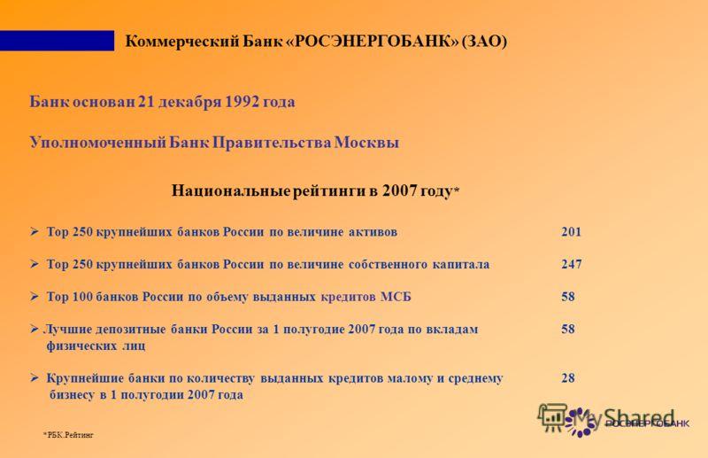 Коммерческий Банк «РОСЭНЕРГОБАНК» (ЗАО) Банк основан 21 декабря 1992 года Уполномоченный Банк Правительства Москвы Национальные рейтинги в 2007 году * Тор 250 крупнейших банков России по величине активов Тор 250 крупнейших банков России по величине с