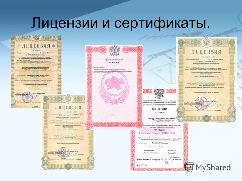 Лицензии и сертификаты.