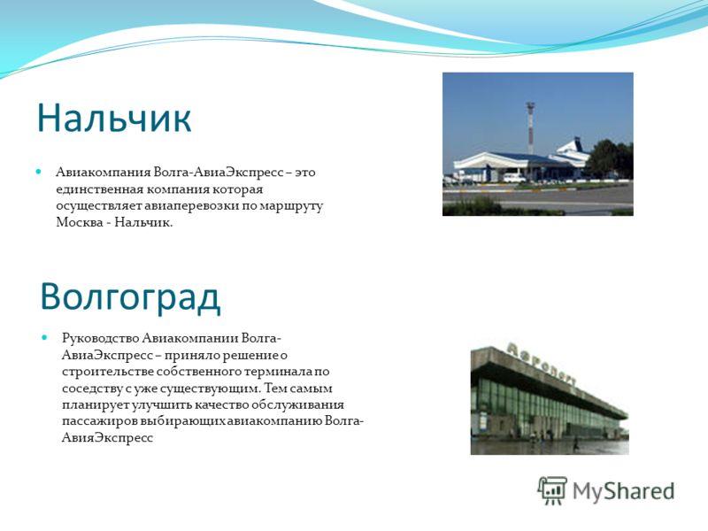 Нальчик Авиакомпания Волга-АвиаЭкспресс – это единственная компания которая осуществляет авиаперевозки по маршруту Москва - Нальчик. Волгоград Руководство Авиакомпании Волга- АвиаЭкспресс – приняло решение о строительстве собственного терминала по со