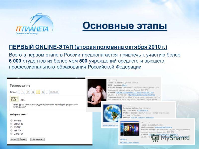Основные этапы ПЕРВЫЙ ONLINE-ЭТАП (вторая половина октября 2010 г.) Всего в первом этапе в России предполагается привлечь к участию более 6 000 студентов из более чем 500 учреждений среднего и высшего профессионального образования Российской Федераци