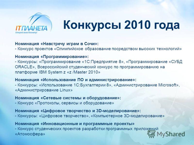Конкурсы 2010 года Номинация «Навстречу играм в Сочи»: - Конкурс проектов «Олимпийское образование посредством высоких технологий» Номинация «Программирование»: - Конкурсы: «Программирование «1С:Предприятие 8», «Программирование «СУБД ORACLE», Всерос