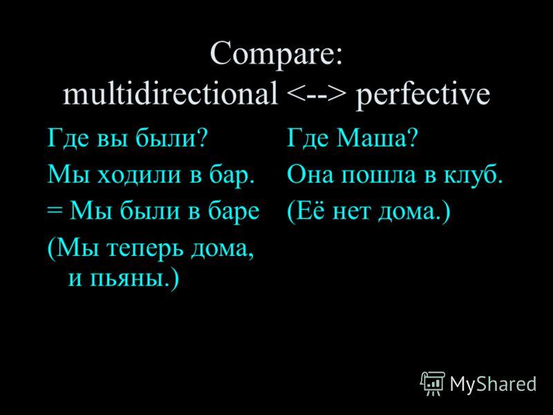 Compare: multidirectional perfective Где вы были? Мы ходили в бар. = Мы были в баре (Мы теперь дома, и пьяны.) Где Маша? Она пошла в клуб. (Её нет дома.)
