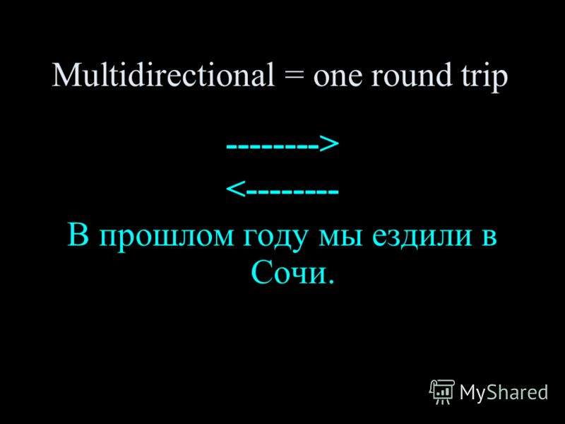 Multidirectional = one round trip -------->