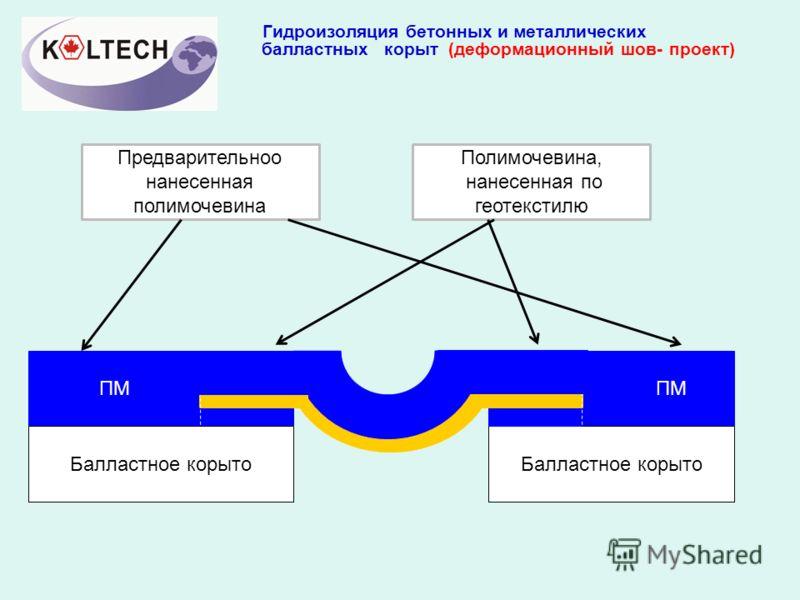 Гидроизоляция бетонных и металлических балластных корыт (деформационный шов- проект) ПМ Балластное корыто Предварительноо нанесенная полимочевина Полимочевина, нанесенная по геотекстилю