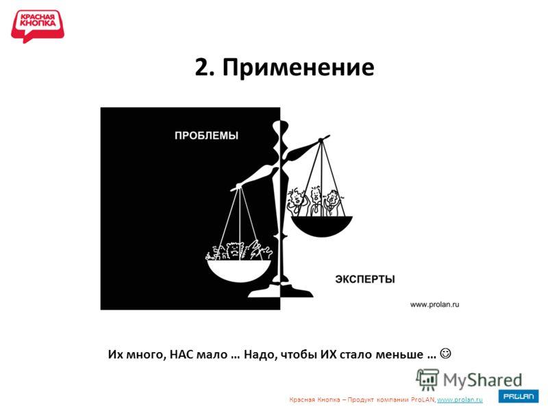 Красная Кнопка – Продукт компании ProLAN, www.prolan.ruwww.prolan.ru 2. Применение Их много, НАС мало … Надо, чтобы ИХ стало меньше …