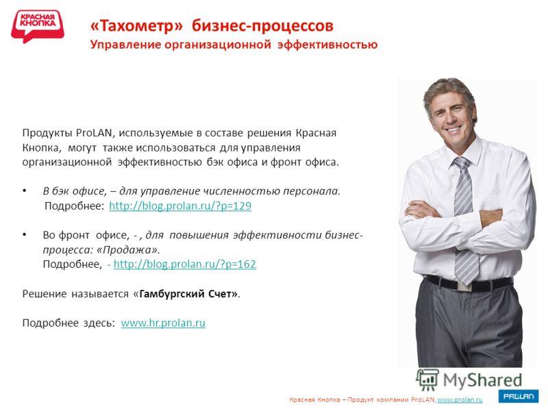 Красная Кнопка – Продукт компании ProLAN, www.prolan.ruwww.prolan.ru «Тахометр» бизнес-процессов Управление организационной эффективностью Продукты ProLAN, используемые в составе решения Красная Кнопка, могут также использоваться для управления орган