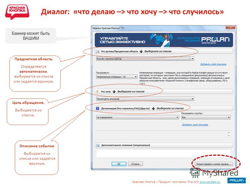 Красная Кнопка – Продукт компании ProLAN, www.prolan.ruwww.prolan.ru Диалог: «что делаю –> что хочу –> что случилось» Предметная область. Определяется автоматически, выбирается из списка или задается вручную. Цель обращения. Выбирается из списка. Опи