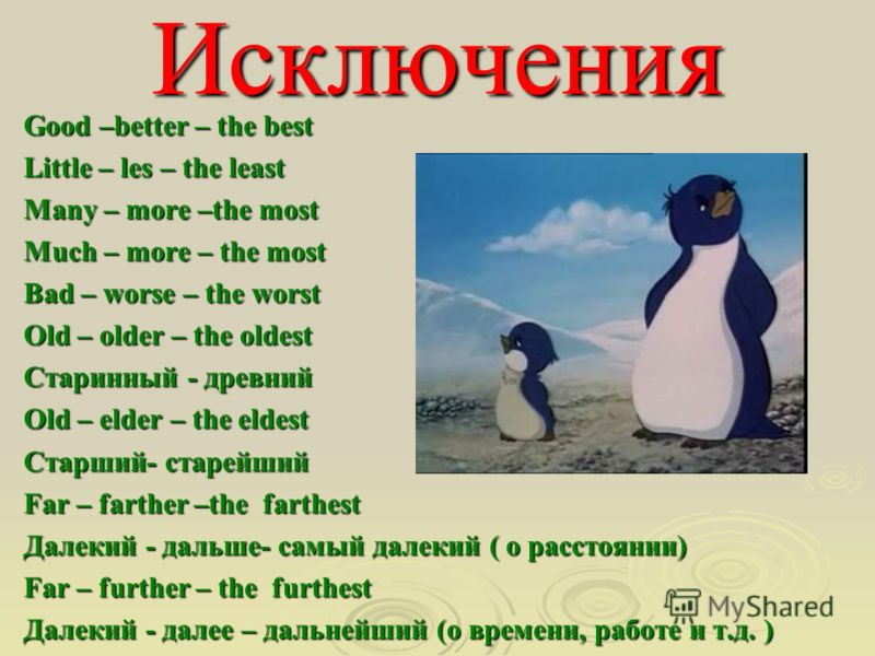 Исключения Good –better – the best Little – les – the least Many – more –the most Much – more – the most Bad – worse – the worst Old – older – the oldest Старинный - древний Old – elder – the eldest Старший- старейший Far – farther –the farthest Дале