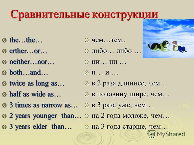 Сравнительные конструкци и Ø the…the… Ø еrther…or… Ø neither…nor… Ø both…and… Ø twice as long as… Ø half as wide as… Ø 3 times as narrow as… Ø 2 years younger than… Ø 3 years elder than… Ø чем…тем.. Ø либо… либо … Ø ни… ни … Ø и… и … Ø в 2 раза длинн