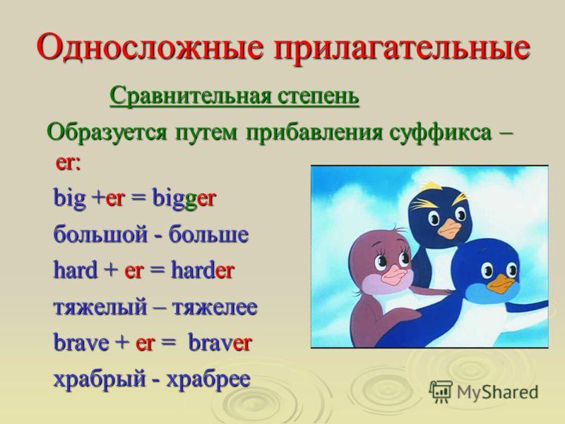 Односложные прилагательные Сравнительная степень Сравнительная степень Образуется путем прибавления суффикса – er: Образуется путем прибавления суффикса – er: big +er = bigger big +er = bigger большой - больше большой - больше hard + er = harder hard