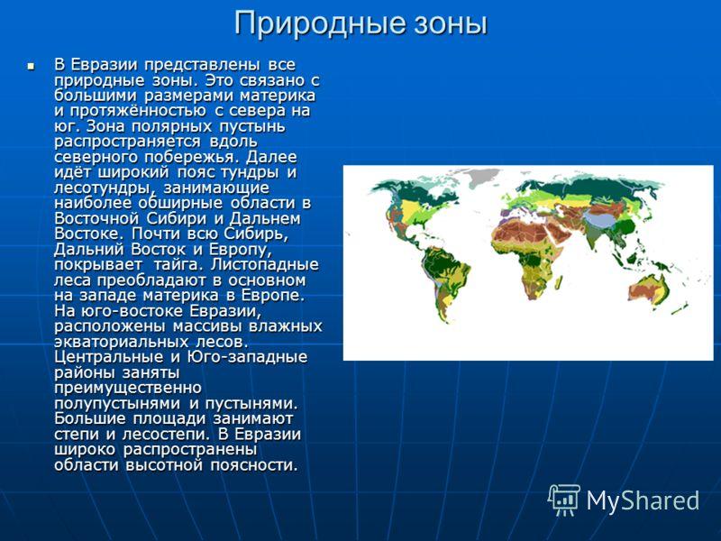 Природные зоны В Евразии представлены все природные зоны. Это связано с большими размерами материка и протяжённостью с севера на юг. Зона полярных пустынь распространяется вдоль северного побережья. Далее идёт широкий пояс тундры и лесотундры, занима