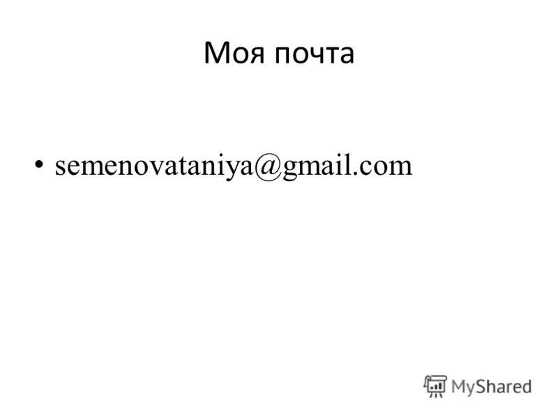 Моя почта semenovataniya@gmail.com