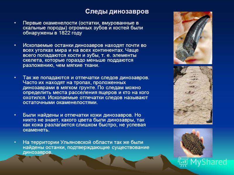 Следы динозавров Первые окаменелости (остатки, вмурованные в скальные породы) огромных зубов и костей были обнаружены в 1822 году Ископаемые останки динозавров находят почти во всех уголках мира и на всех континентах. Чаще всего попадаются кости и зу