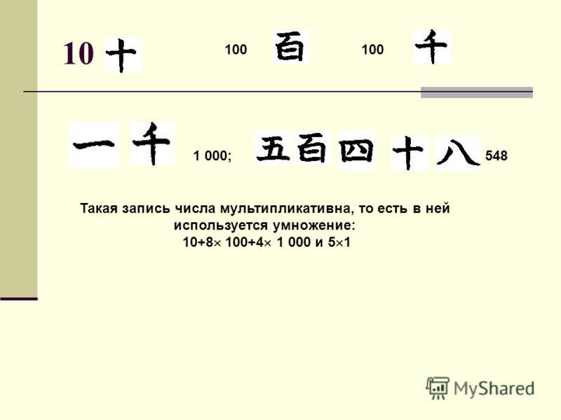 10 100 1 000;548 Такая запись числа мультипликативна, то есть в ней используется умножение: 10+8 100+4 1 000 и 5 1