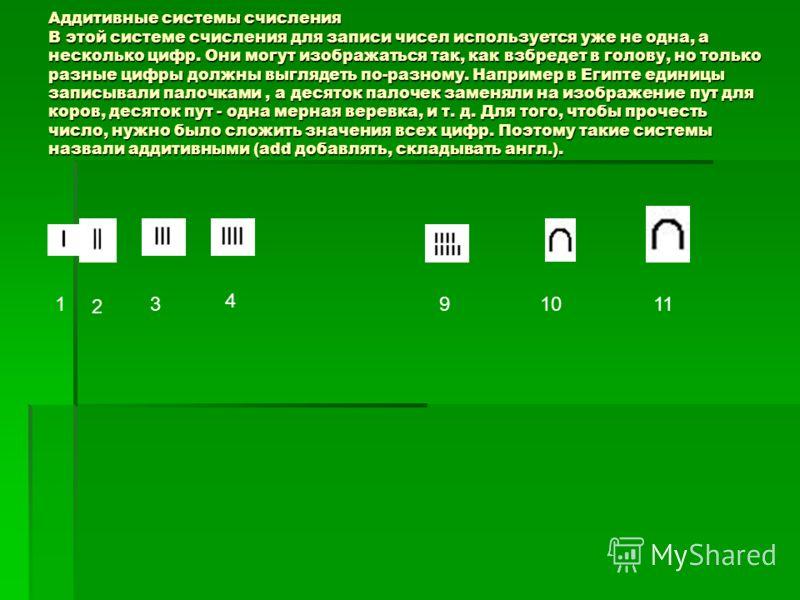 Аддитивные системы счисления В этой системе счисления для записи чисел используется уже не одна, а несколько цифр. Они могут изображаться так, как взбредет в голову, но только разные цифры должны выглядеть по-разному. Например в Египте единицы записы