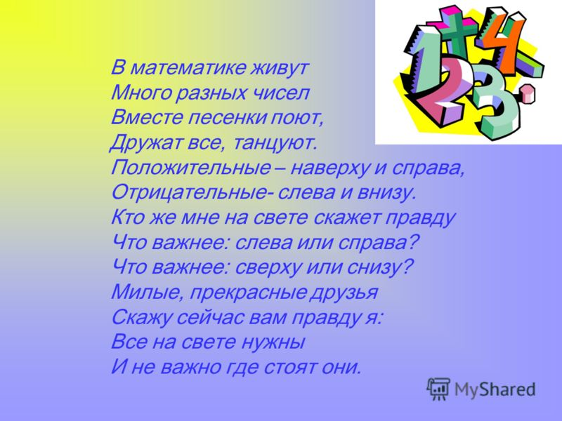 В математике живут Много разных чисел Вместе песенки поют, Дружат все, танцуют. Положительные – наверху и справа, Отрицательные- слева и внизу. Кто же мне на свете скажет правду Что важнее: слева или справа? Что важнее: сверху или снизу? Милые, прекр