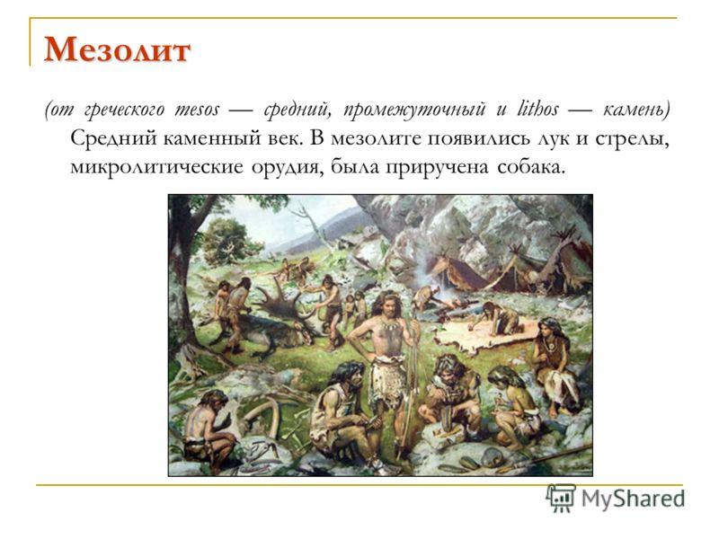 Мезолит (от греческого mesos средний, промежуточный и lithos камень) Средний каменный век. В мезолите появились лук и стрелы, микролитические орудия, была приручена собака.