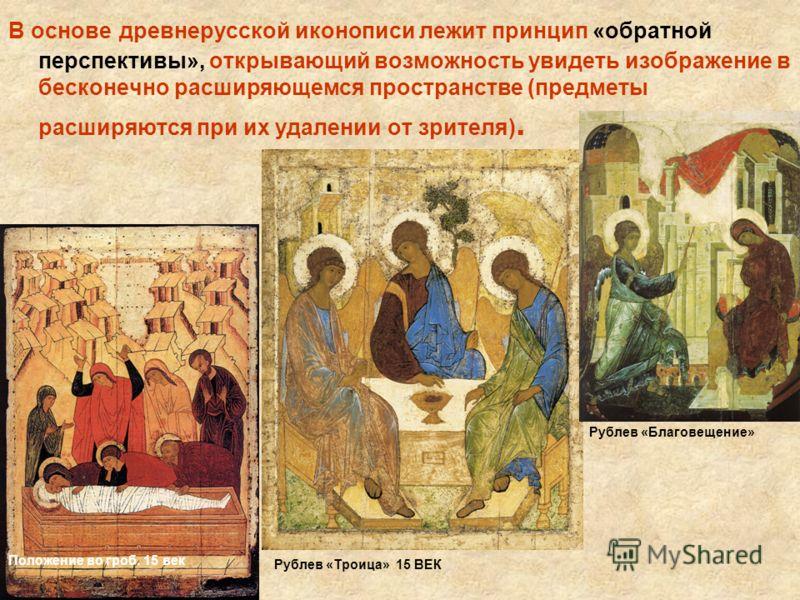 В основе древнерусской иконописи лежит принцип «обратной перспективы», открывающий возможность увидеть изображение в бесконечно расширяющемся пространстве (предметы расширяются при их удалении от зрителя). Положение во гроб. 15 век Рублев «Троица» 15