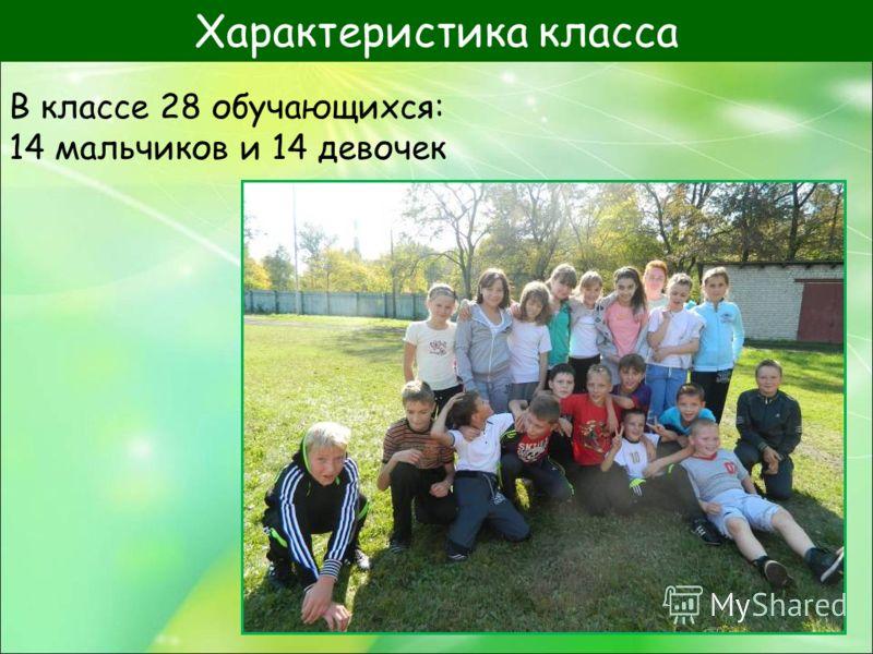 В классе 28 обучающихся: 14 мальчиков и 14 девочек Характеристика класса