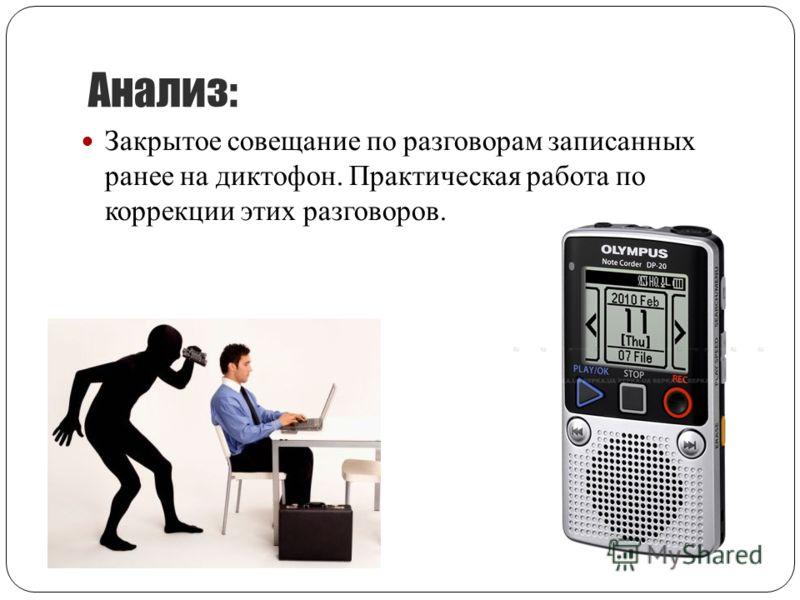 Анализ: Закрытое совещание по разговорам записанных ранее на диктофон. Практическая работа по коррекции этих разговоров.