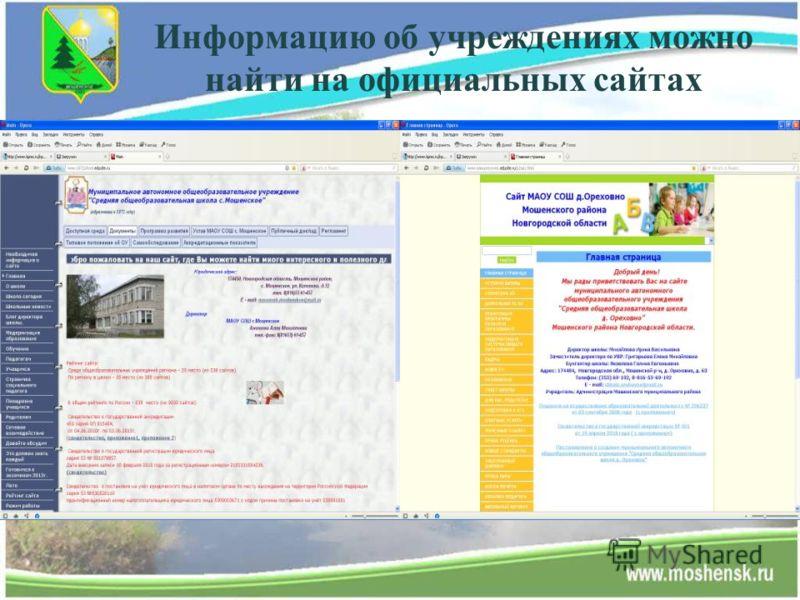 Информацию об учреждениях можно найти на официальных сайтах