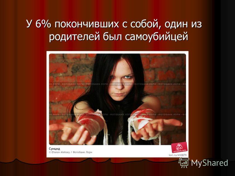 У 6% покончивших с собой, один из родителей был самоубийцей