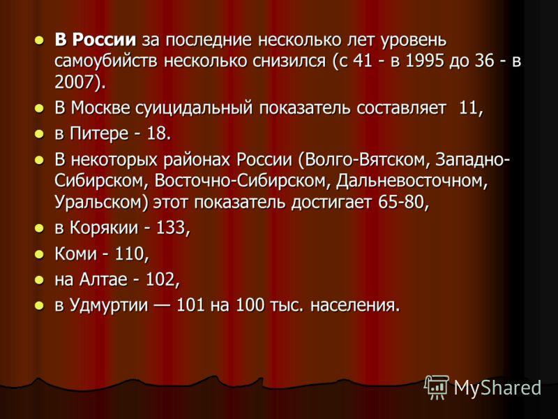 В России за последние несколько лет уровень самоубийств несколько снизился (с 41 - в 1995 до 36 - в 2007). В России за последние несколько лет уровень самоубийств несколько снизился (с 41 - в 1995 до 36 - в 2007). В Москве суицидальный показатель сос