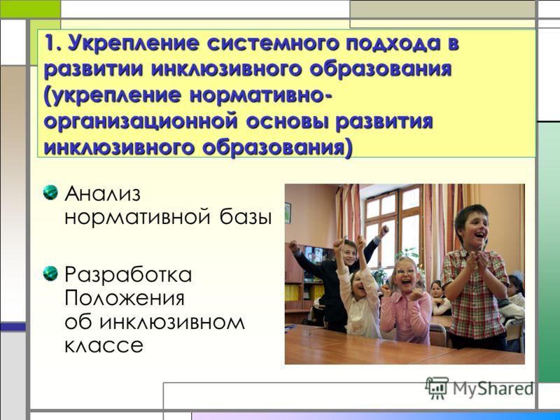 1. Укрепление системного подхода в развитии инклюзивного образования (укрепление нормативно- организационной основы развития инклюзивного образования) Анализ нормативной базы Разработка Положения об инклюзивном классе