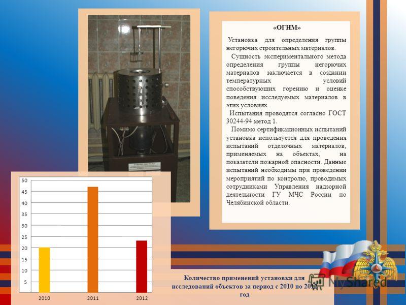 «ОГНМ» Установка для определения группы негорючих строительных материалов. Сущность экспериментального метода определения группы негорючих материалов заключается в создании температурных условий способствующих горению и оценке поведения исследуемых м