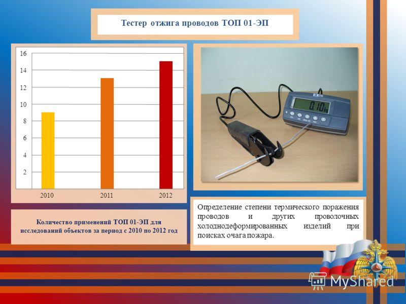 Тестер отжига проводов ТОП 01-ЭП Определение степени термического поражения проводов и других проволочных холоднодеформированных изделий при поисках очага пожара. Количество применений ТОП 01-ЭП для исследований объектов за период с 2010 по 2012 год