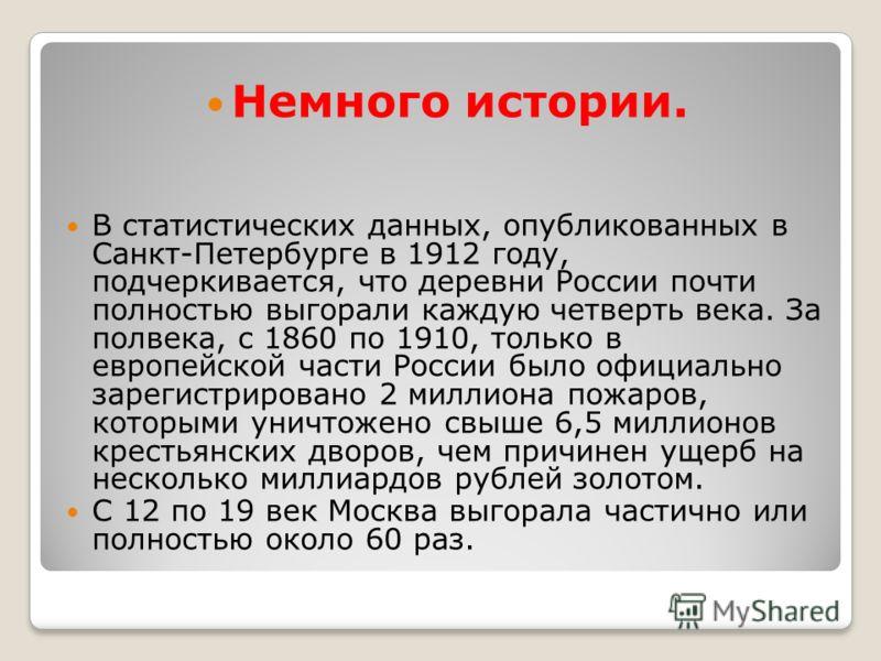 Немного истории. В статистических данных, опубликованных в Санкт-Петербурге в 1912 году, подчеркивается, что деревни России почти полностью выгорали каждую четверть века. За полвека, с 1860 по 1910, только в европейской части России было официально з